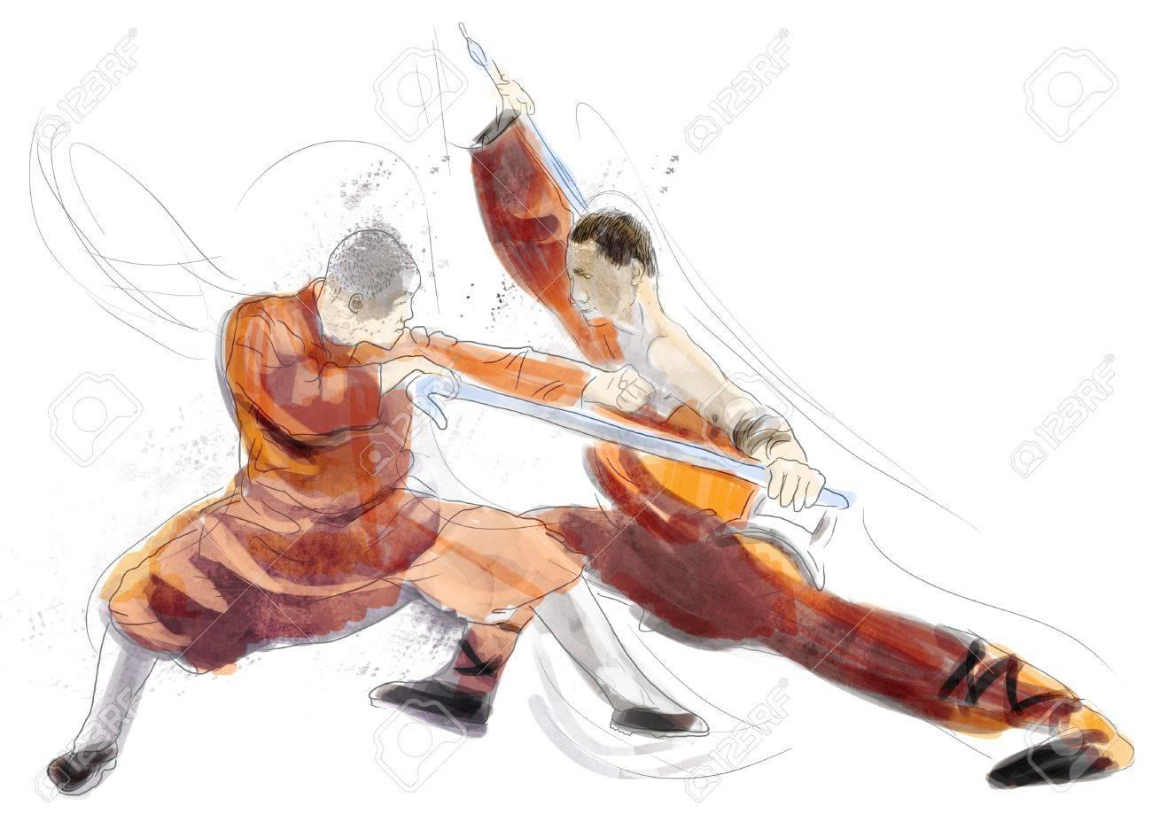 Kung Fu, Chinese martial art      A hand drawn illustration Stock Illustration - 17657560