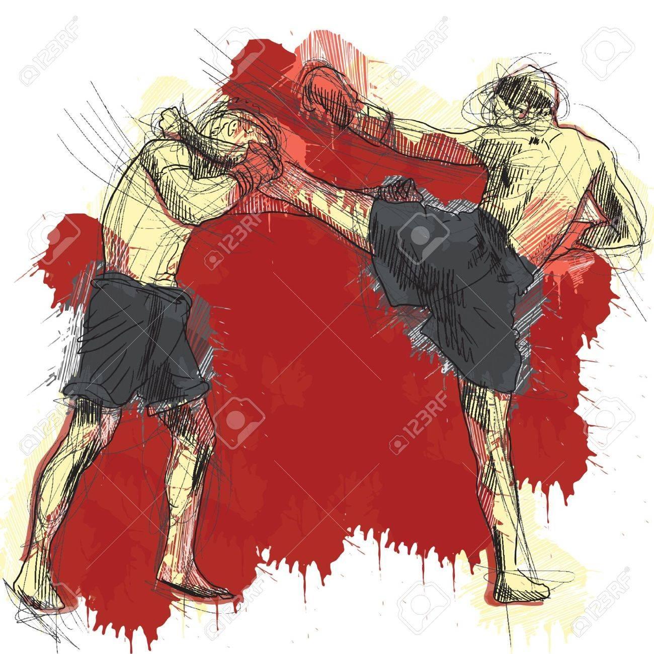 Muay Thai  combat martial art from Thailand  - Kickboxing Stock Vector - 18136085