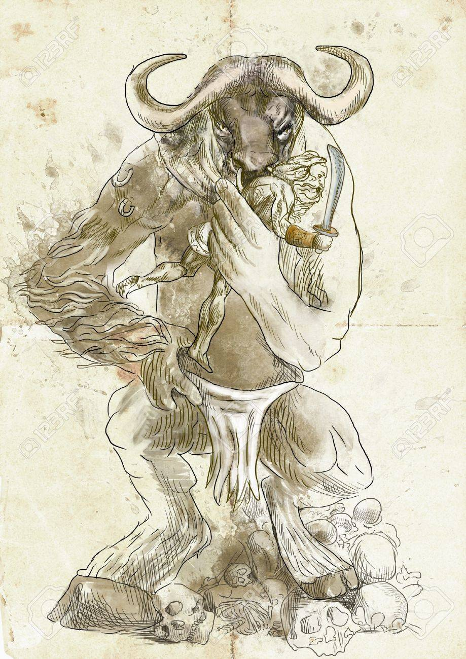 An hand-drawn illustration in ancient Greek myths and legends  MINOTAUR and THESEUS Stock Illustration - 19032910