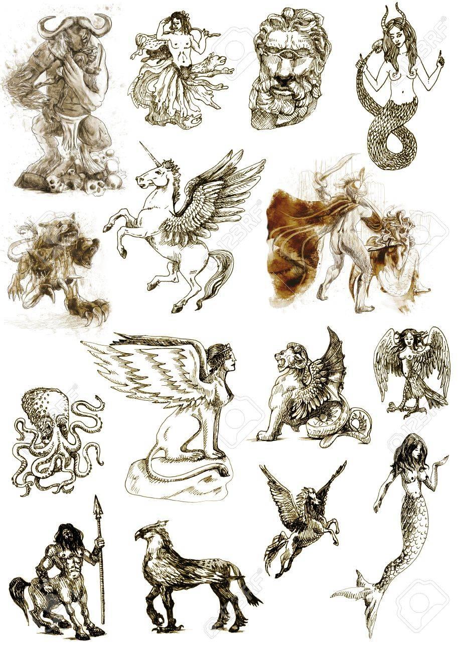 古代ギリシャ神話によると - 白で隔離される神秘的な生き物の大 ...