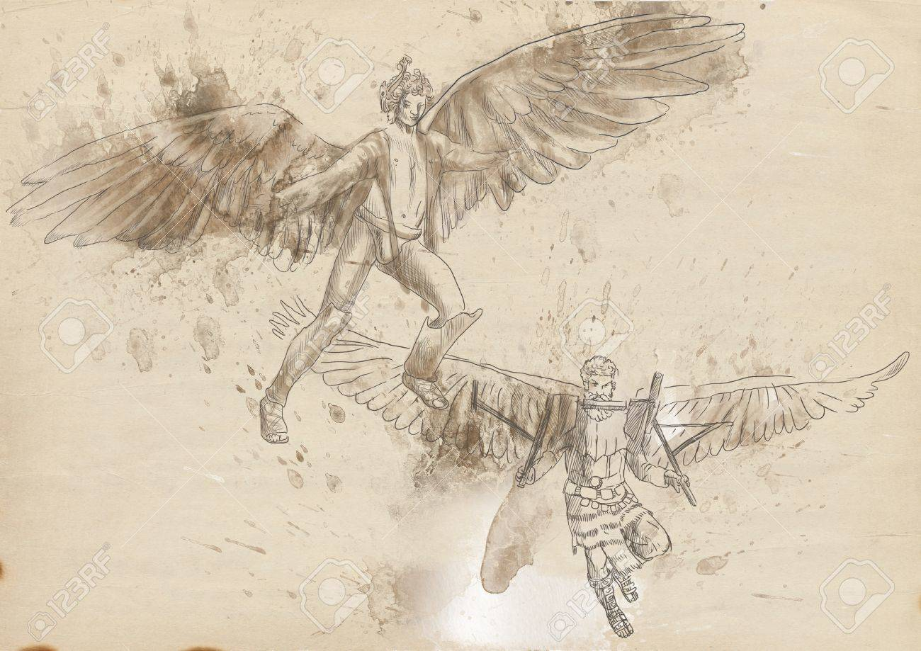Greek myths and Legends - Icarus and Daedalos Stock Photo - 19126670