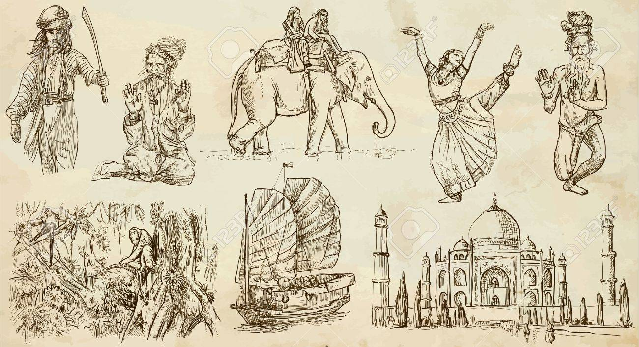 India And Indonesia 1 Traveling Collection Hand Drawns Into
