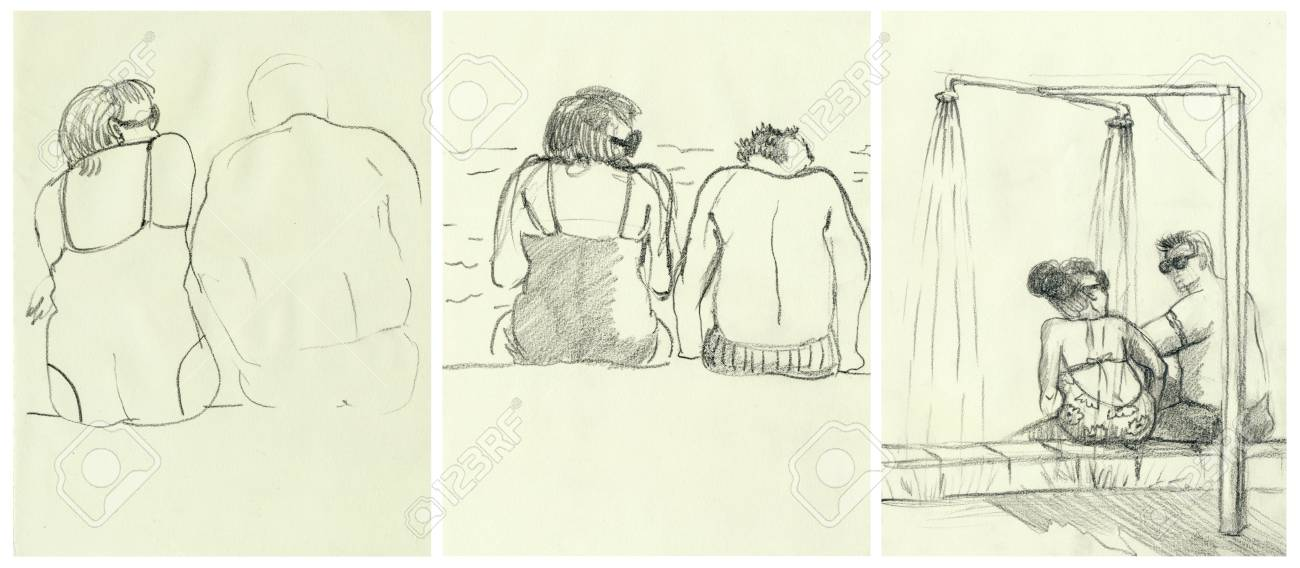 afternoon at the swimming pool an hand drawn illustrations stock