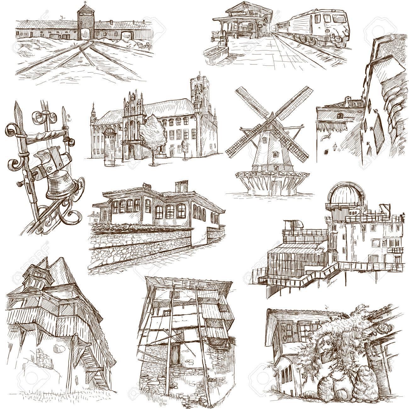 Architetti Famosi Antichi luoghi famosi, edifici e l'architettura di tutto il mondo set n ° 6, bianco  - disegni a mano