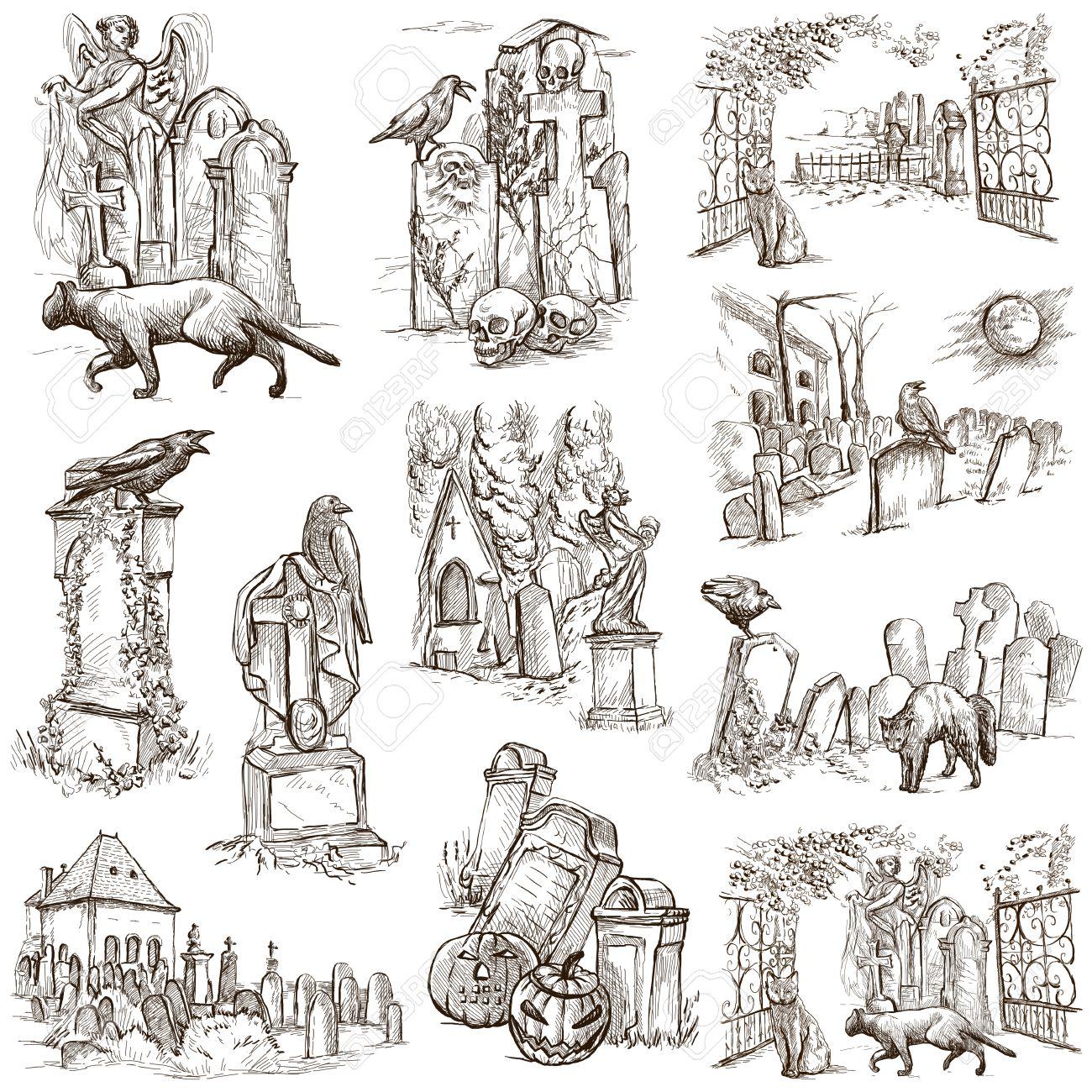 De Thème De L Halloween Cimetières Collection De Un Illustrations Dessinées à La Main Illustrations Dessinées à La Main Pleine Taille De Dessin