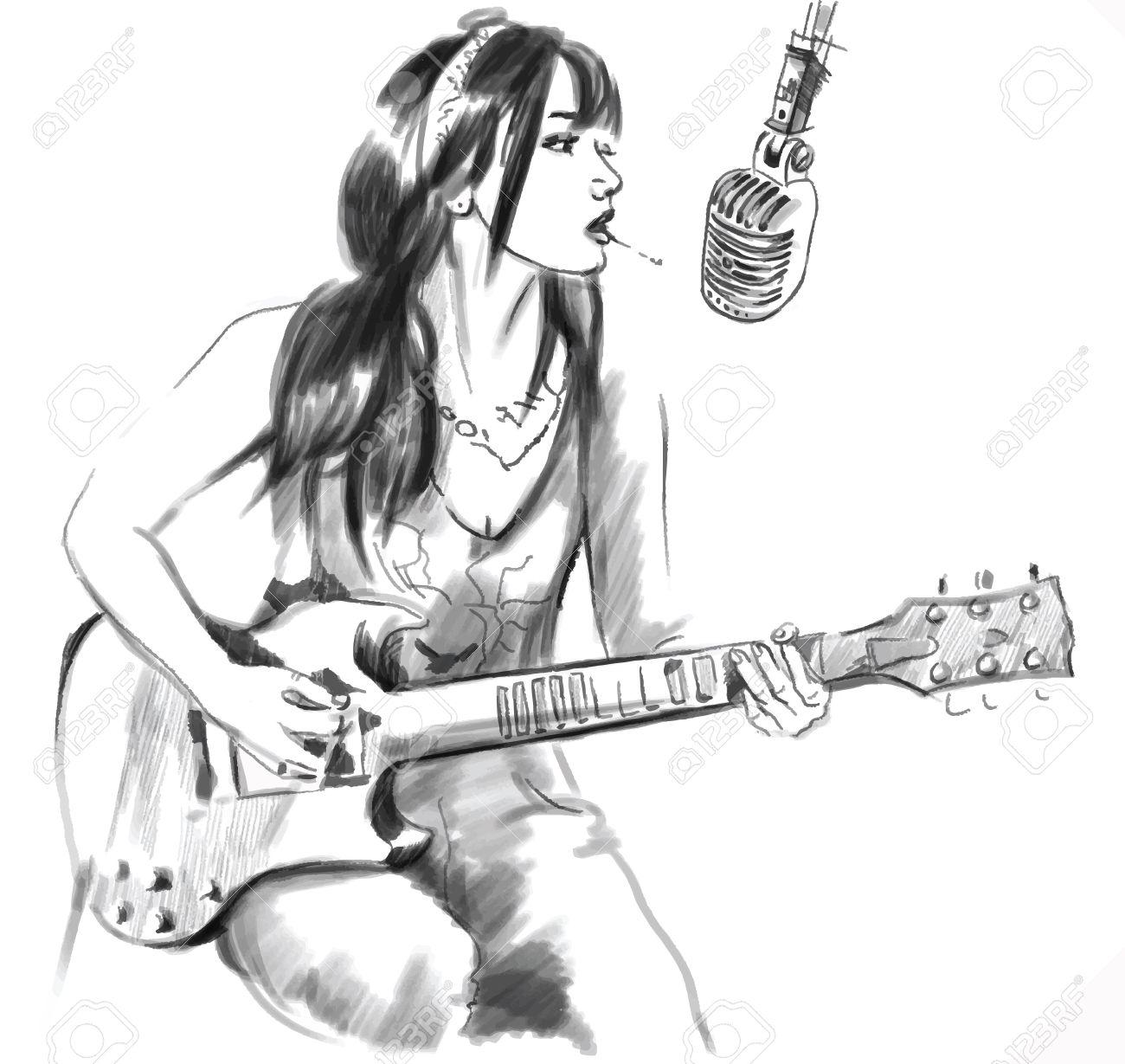Une Illustration Tiree Par La Main Serie De Fumer Jeune Femme