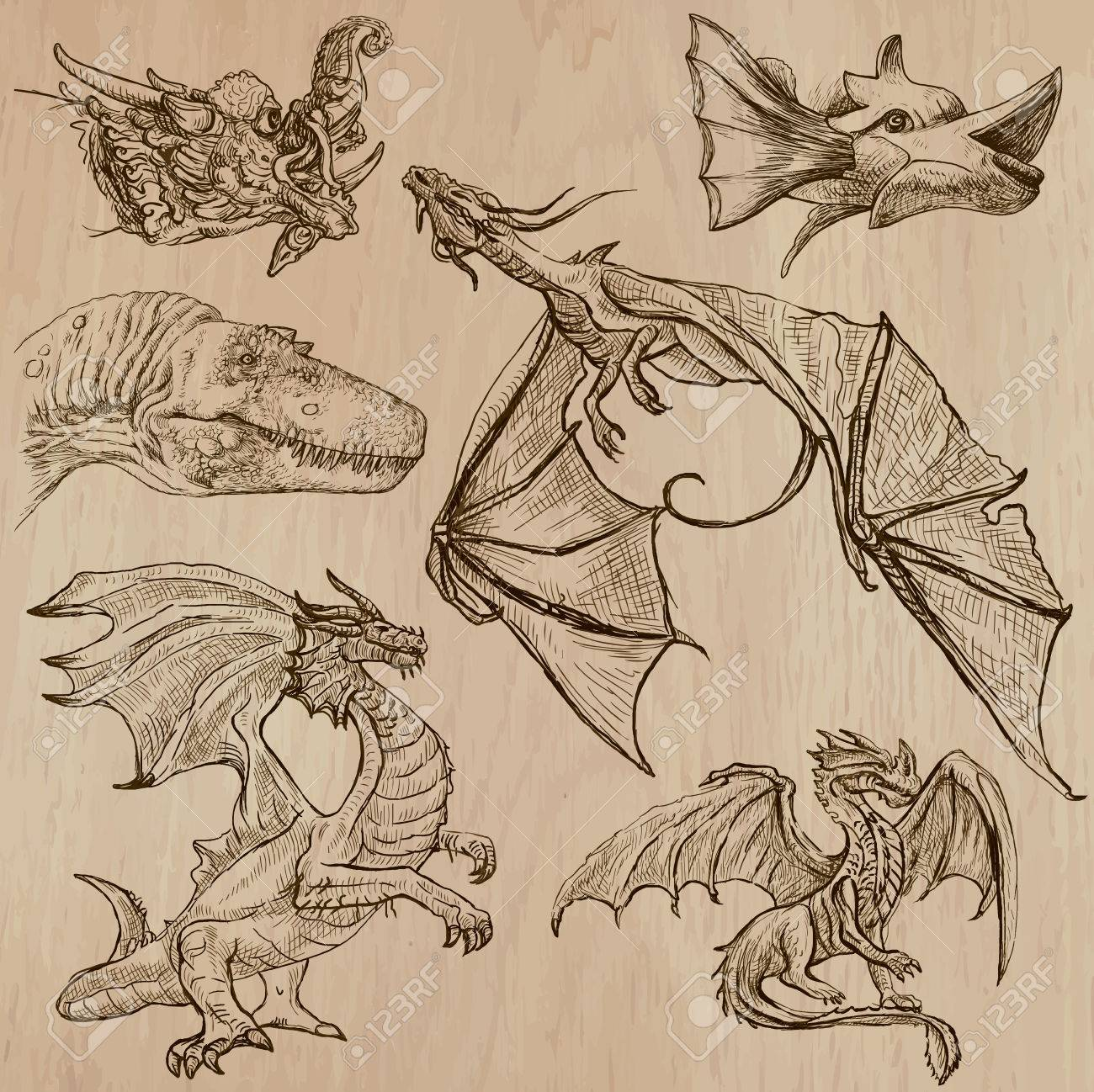 Dragons Collection D Une Main Tiree Illustrations Ligne Art