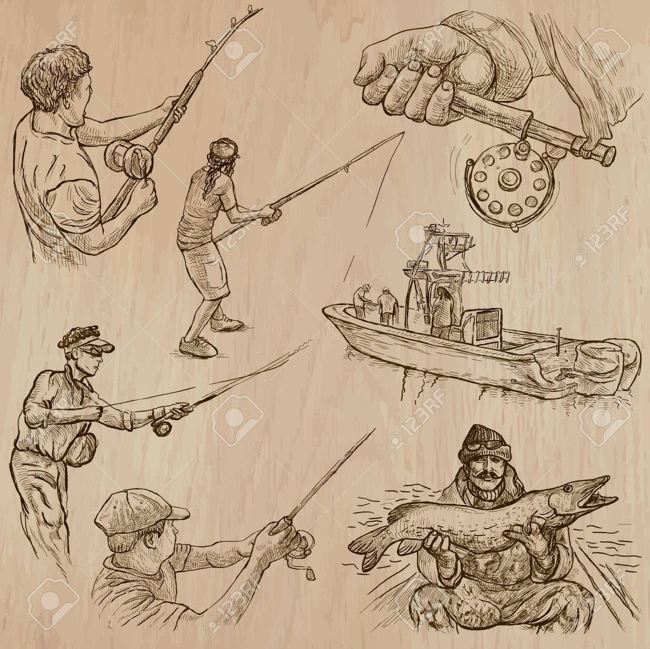 Pêche Et De Pêcheurs Ensemble No 4 Collection D Une Main Dessiné Des Illustrations Vectorielles Chaque Dessin Comporte Quelques Couches De