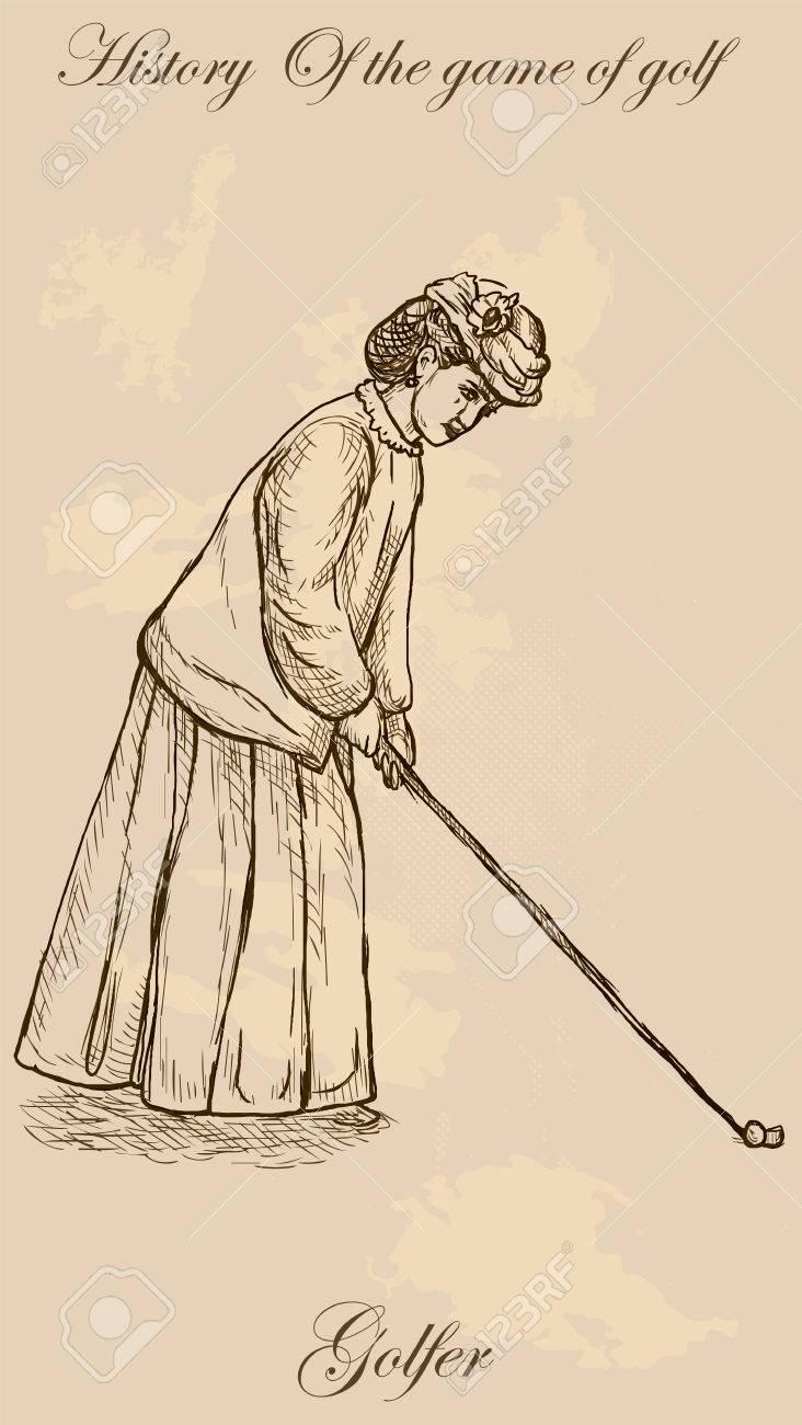 Vintage Golfeur Une Femme Dessin A Main Levee Vecteur Vector Est