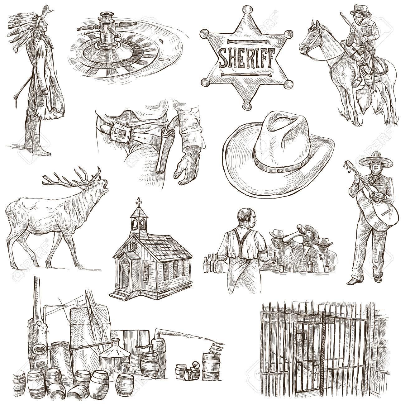 インド人および野生の西 手描きイラスト集説明コントロール フル