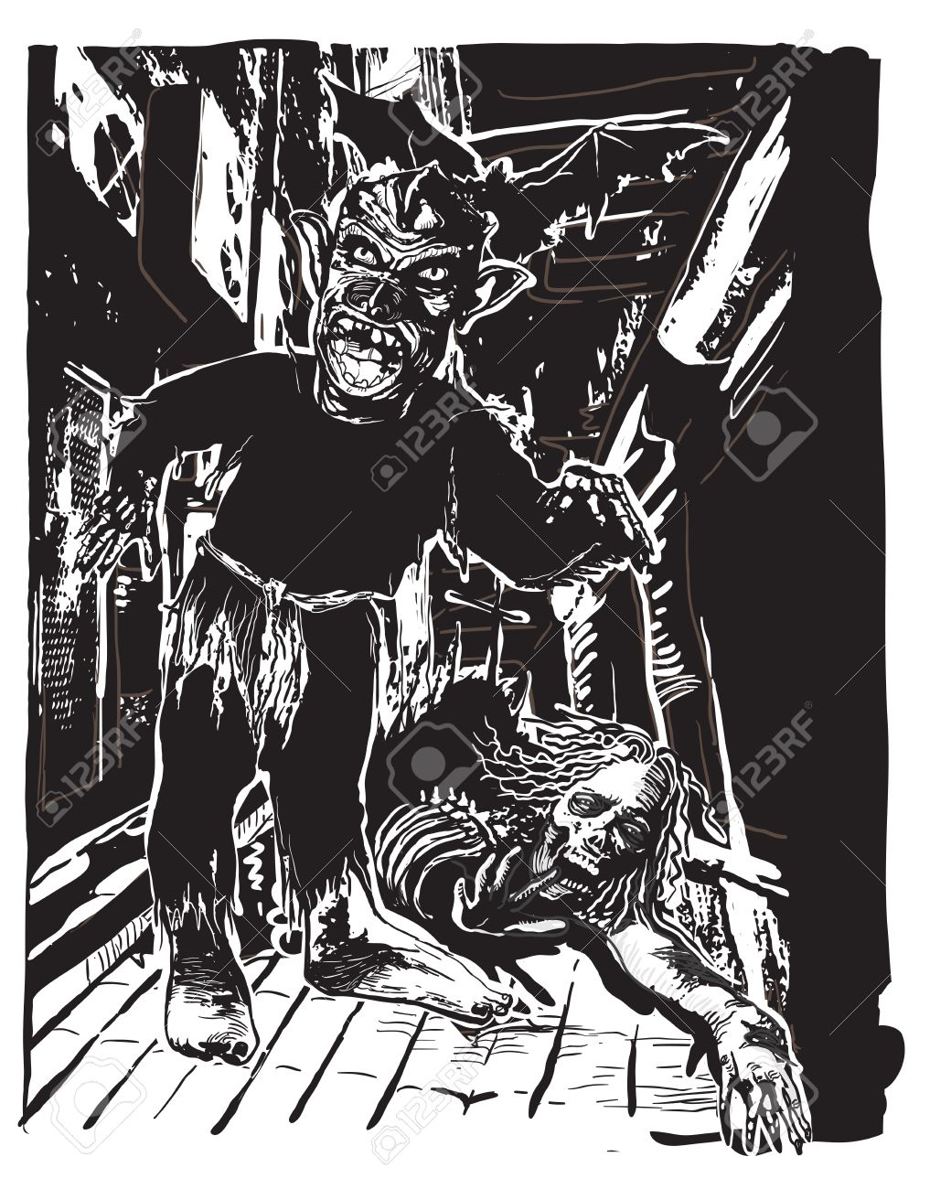 Two Zombies On The Night Street. An Hand Drawn Vector Illustration ... for Night Street Drawing  177nar