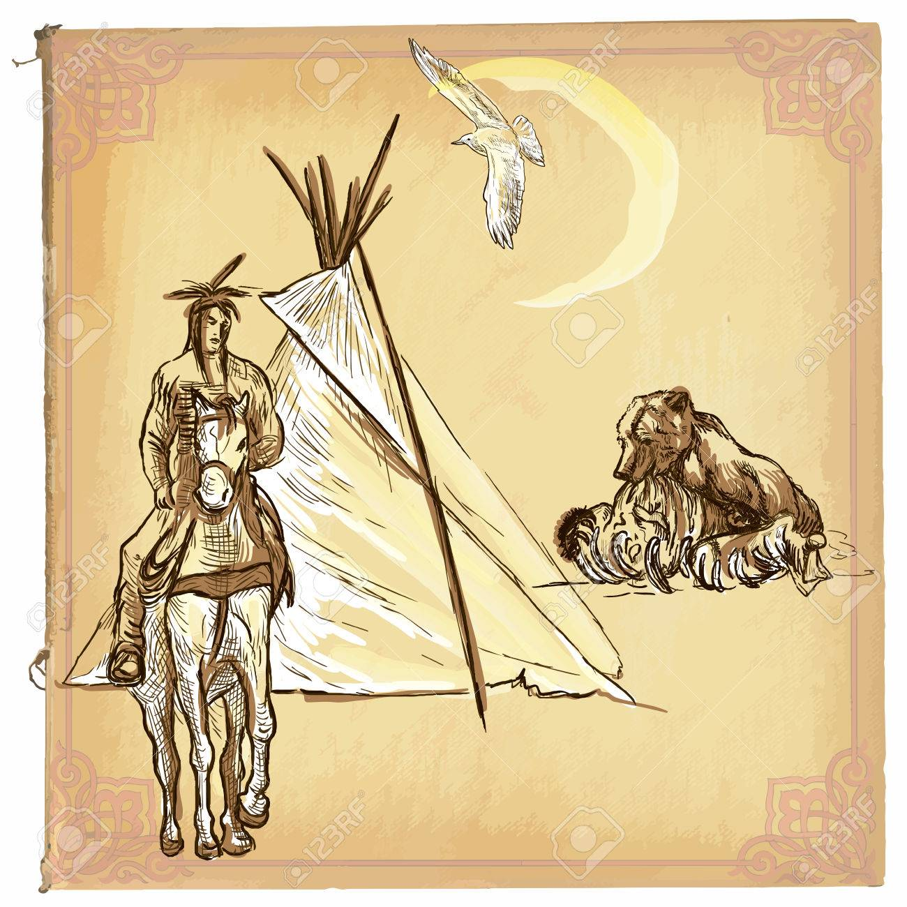 Illustration Colored Line Art Native American Sketch Of An North Royalty Free Cliparts Vectors And Stock Illustration Image 56383492