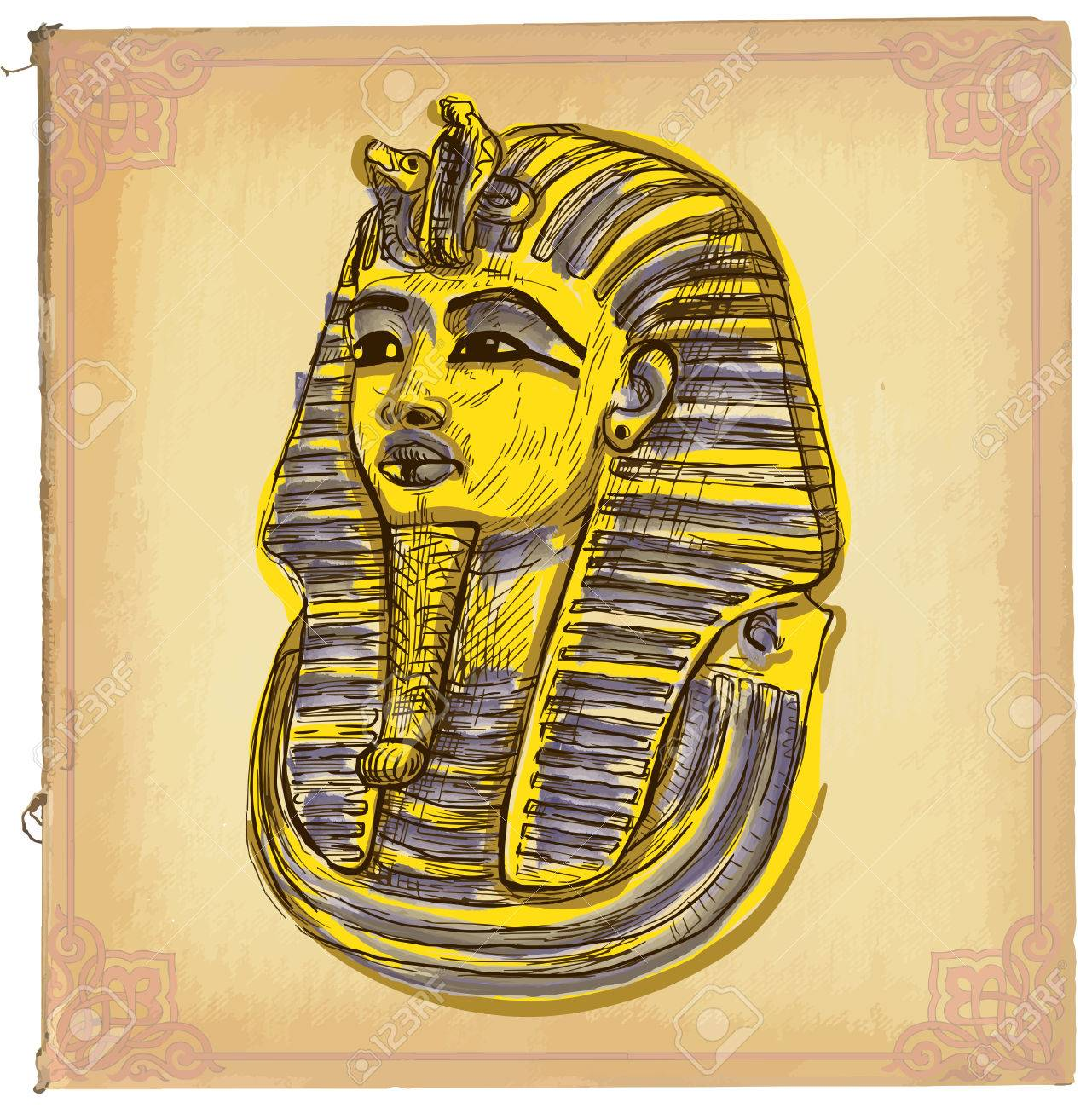 Hand Drawn Illustration, Colored Line Art. TUTANKHAMUN Pharaoh ...