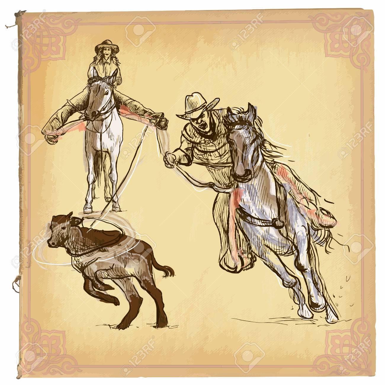 Una Ilustración Dibujados A Mano, Coloreado Dibujos Lineales. RODEO ...