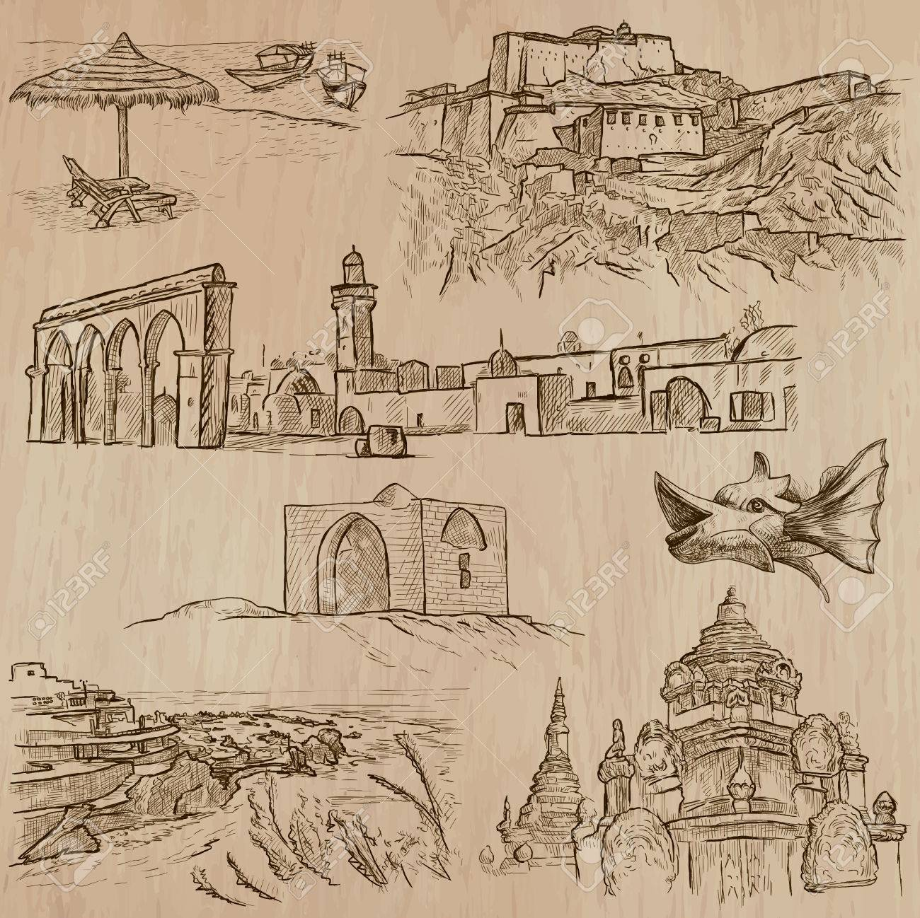 ARCHITECTURE And Famous Places Around The World An Hand Drawn Vector Collection Freehand Drawings