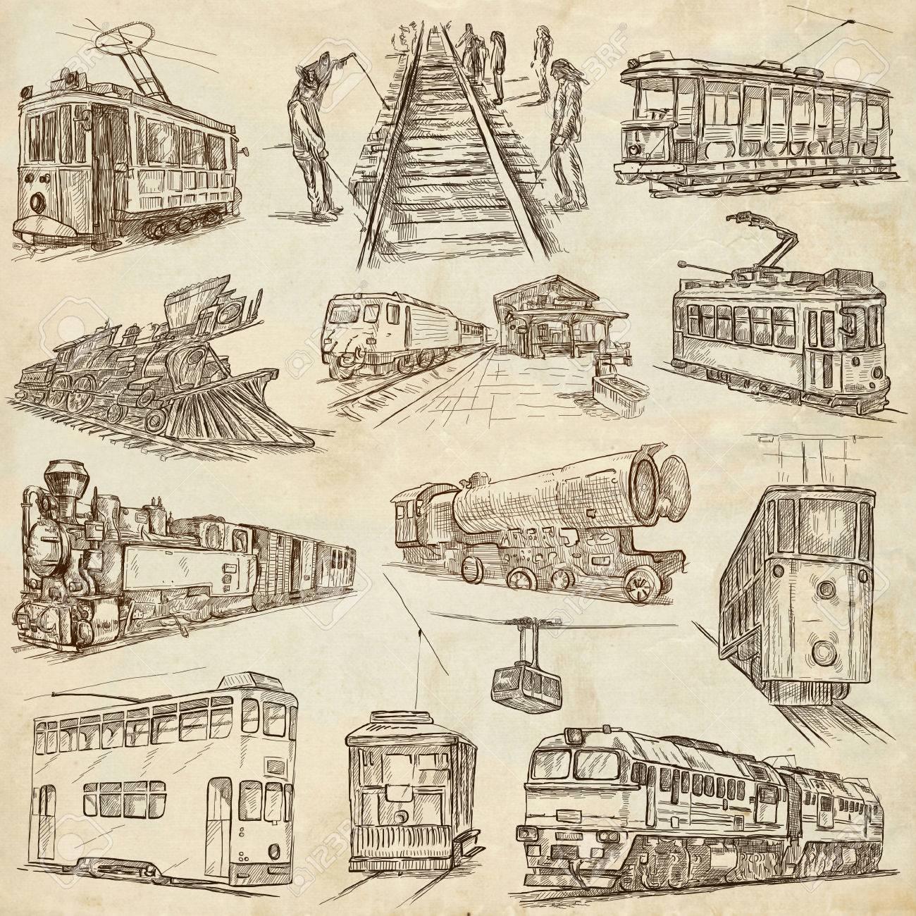レール。電車やトラム。トランスポート。手書きイラストのコレクションです。完全なサイズ手のパックには、イラストが描かれています。フリーハンド  スケッチのセットです。ライン アートの手法。白の背景上に描画します。