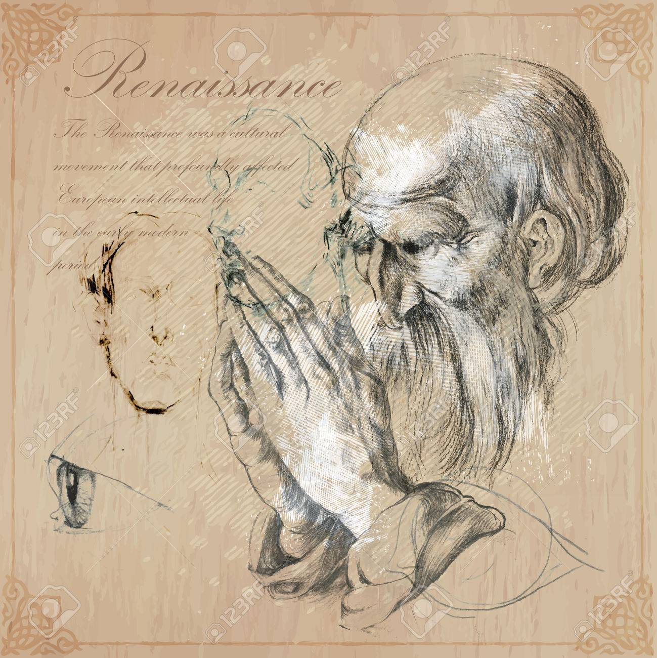 Old bearded man praying hands pencil technique converted into vector
