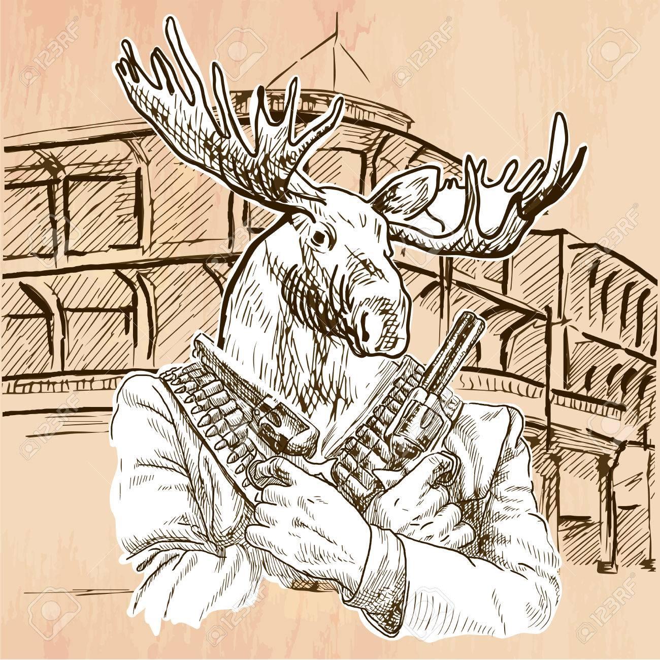 Gunman Animal Shooter Elk Freehand Sketching Line Drawing