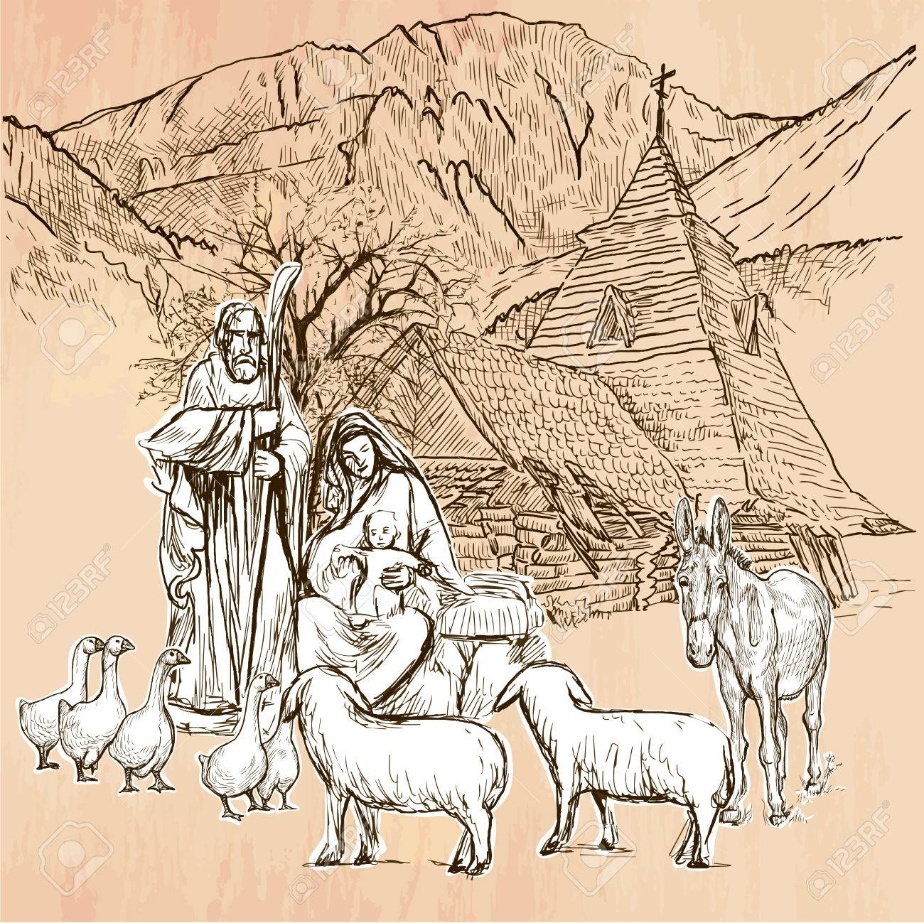 Sagrada Familia Jesús Bebé Nacimiento De Jesús Trazado A Mano Alzada Dibujo Lineal Una Ilustración Vectorial De Dibujado A Mano Color De Fondo
