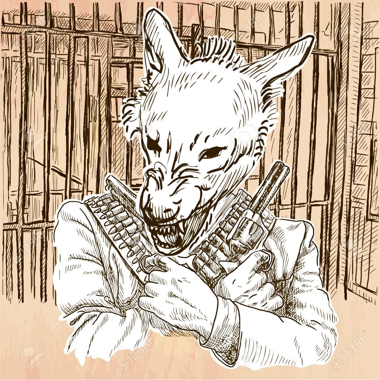 Gunman Animal Shooter Wolf Freehand Sketching Line Drawing