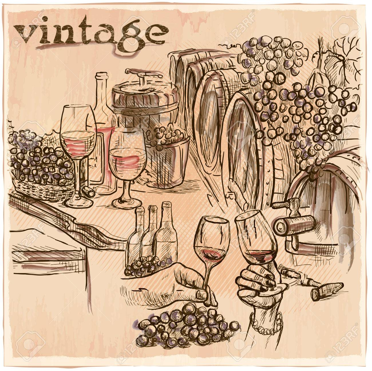 Vintage On A Visit To The Wine Cellar Freehand Sketching Line