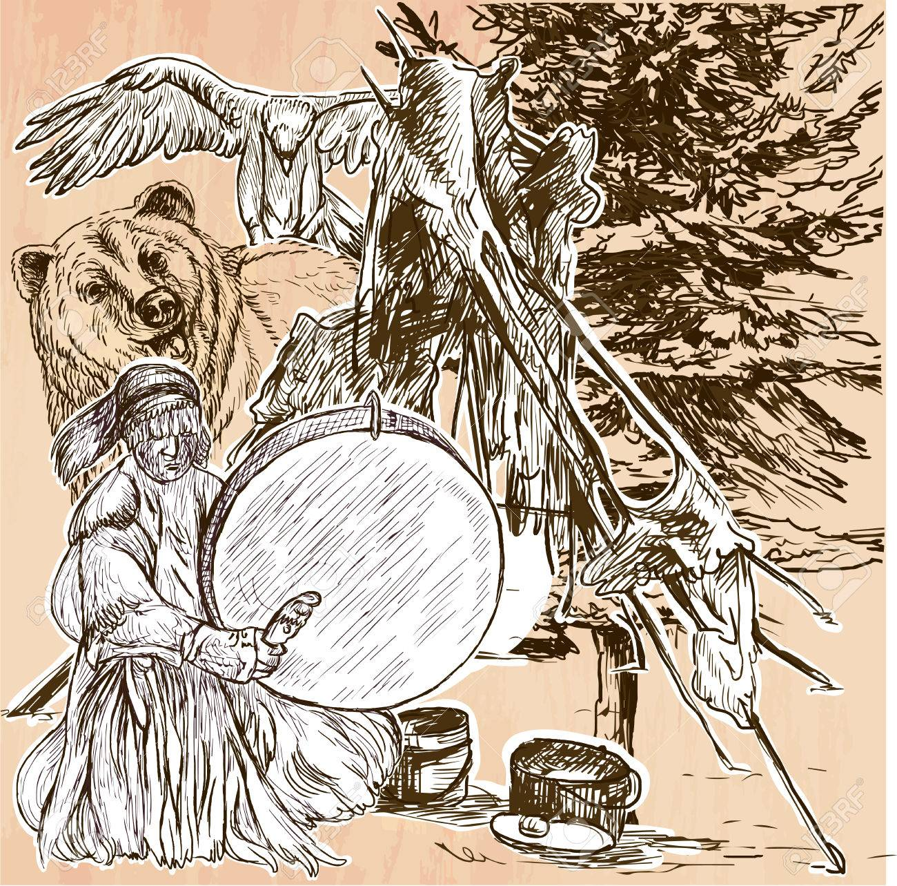 shaman native man with drum drummer sitting in the forest near