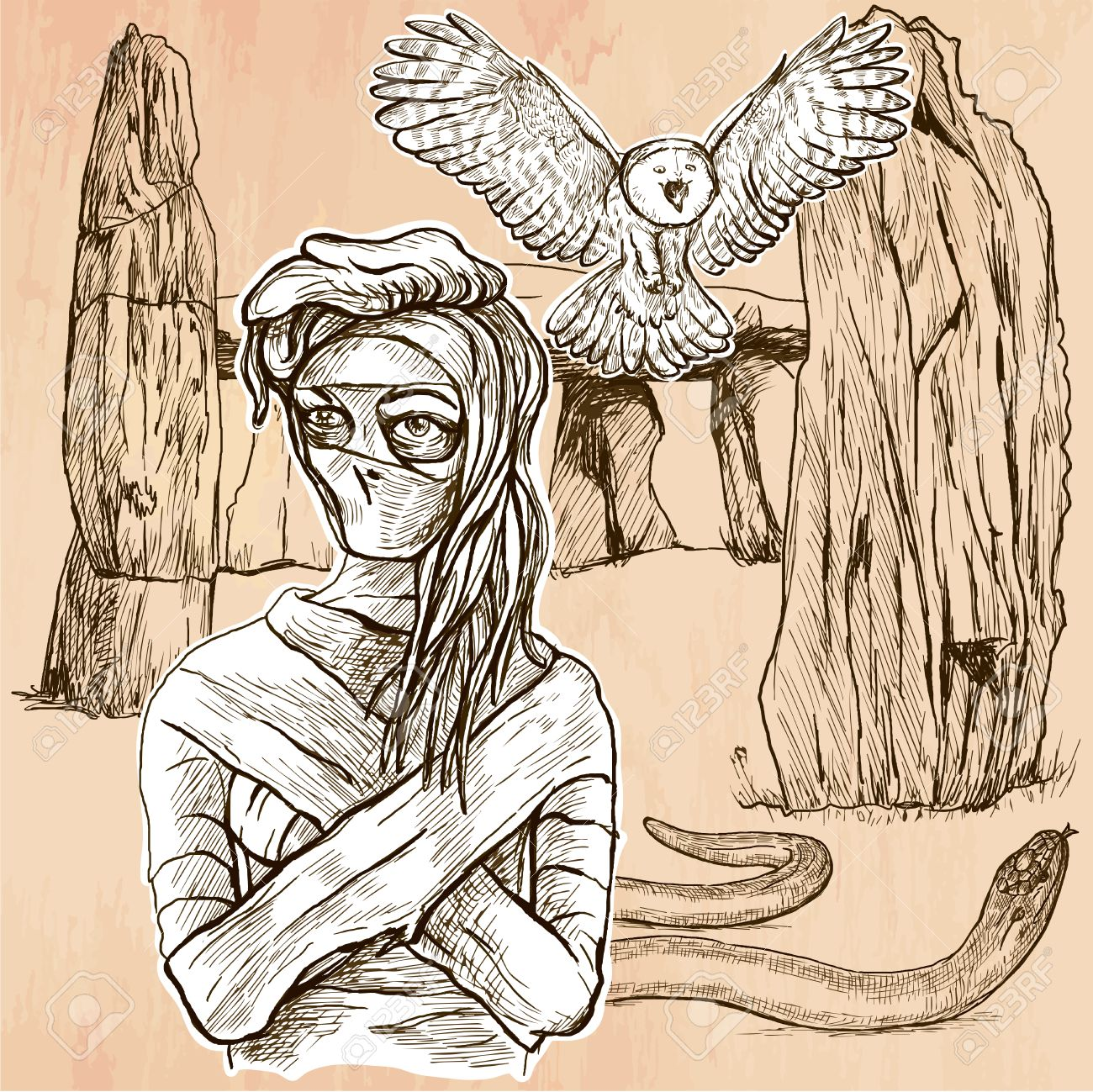an mummy flying owl and snake in front of stone menhir and dolmen
