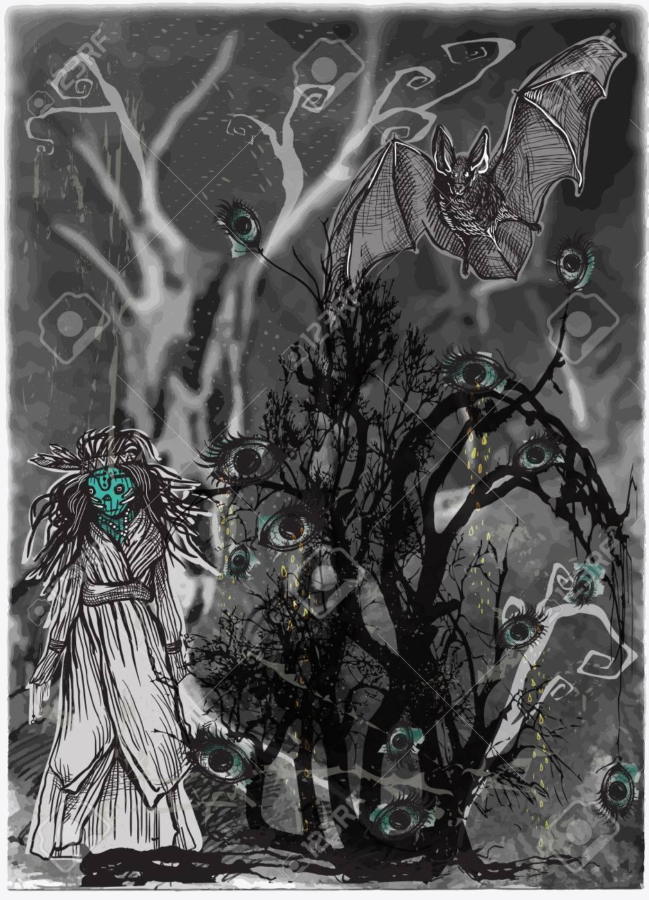 an hand drawn halloween vector magical and mystical illustration halloween bush forest