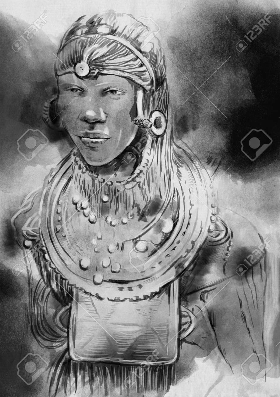 Black and white portrait of an african man an hand painted illustration stock