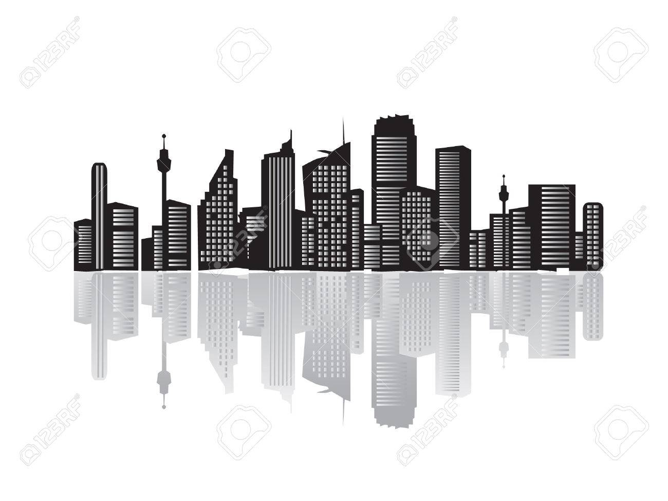 City landscape, silhouettes of houses black Stock Vector - 2558700