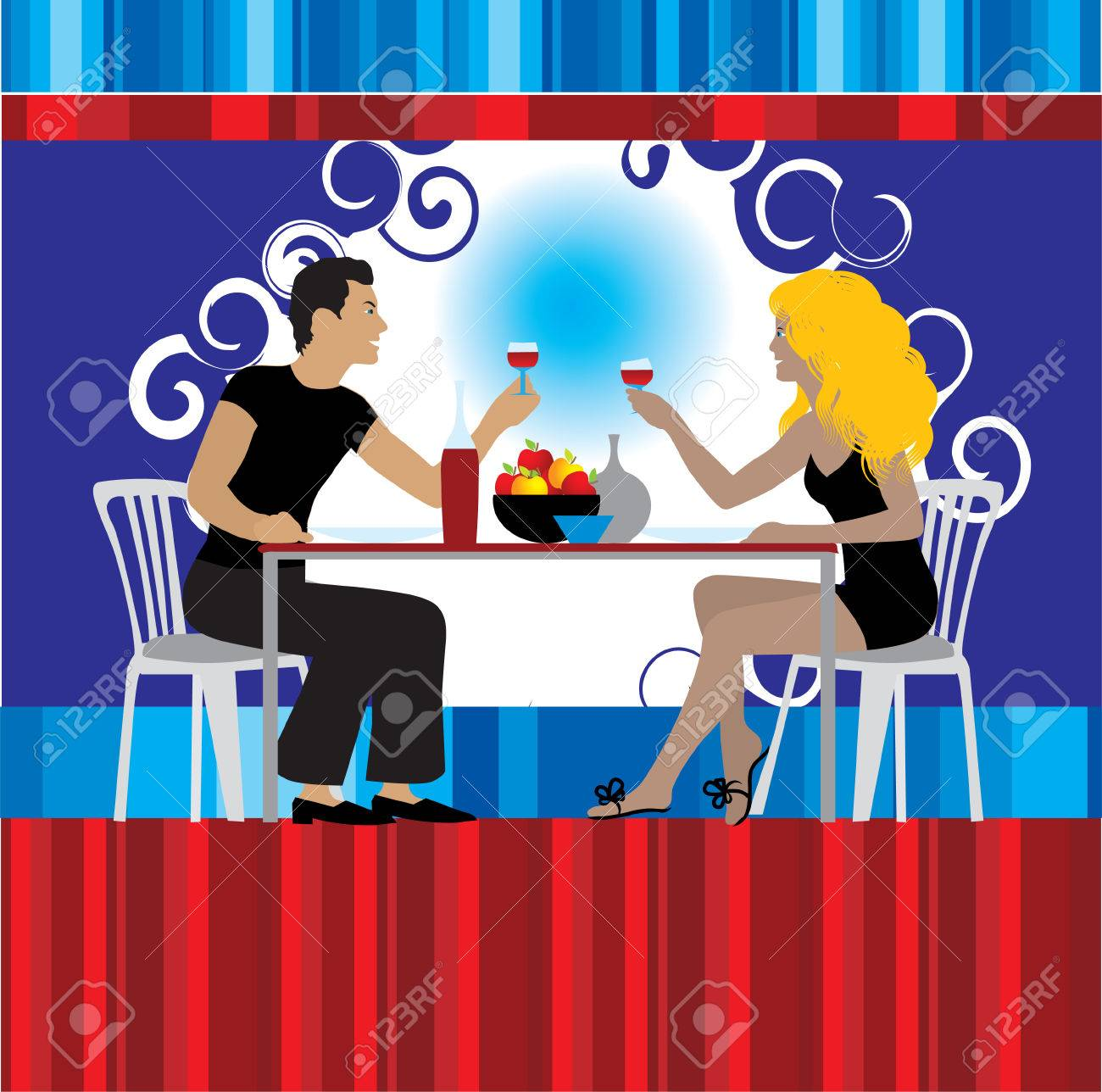 Couple drink wine at restaurant Stock Vector - 2564657