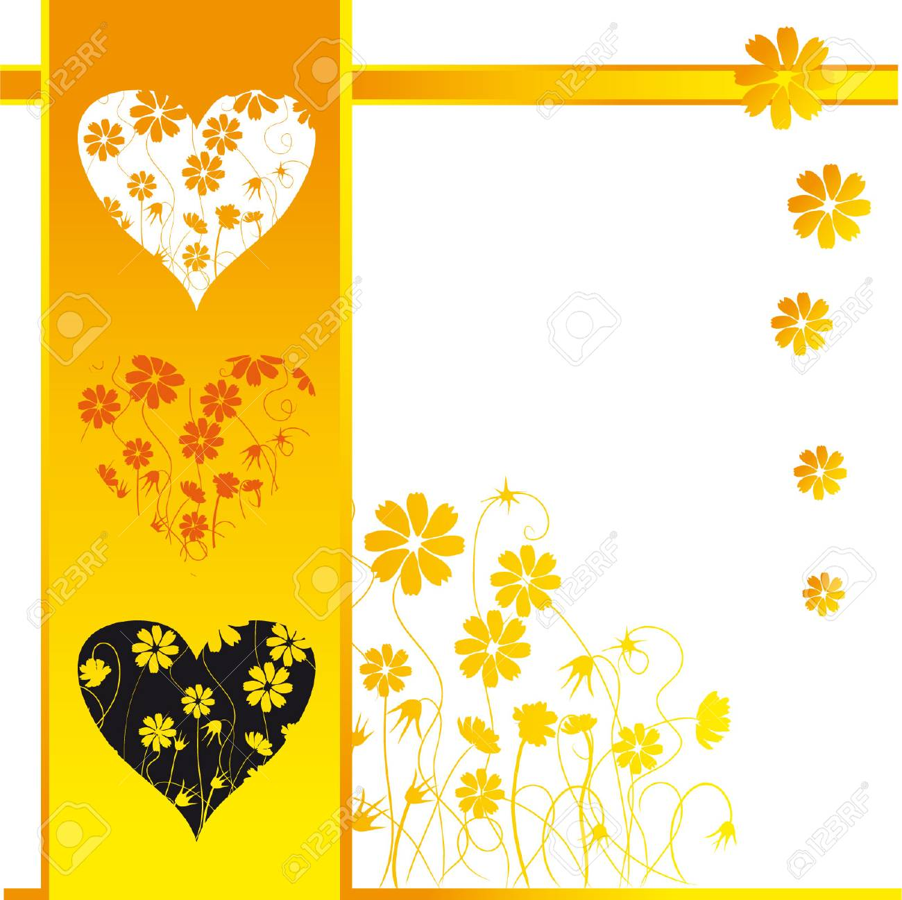 Valentine card, retro style, floral background Stock Vector - 2643300