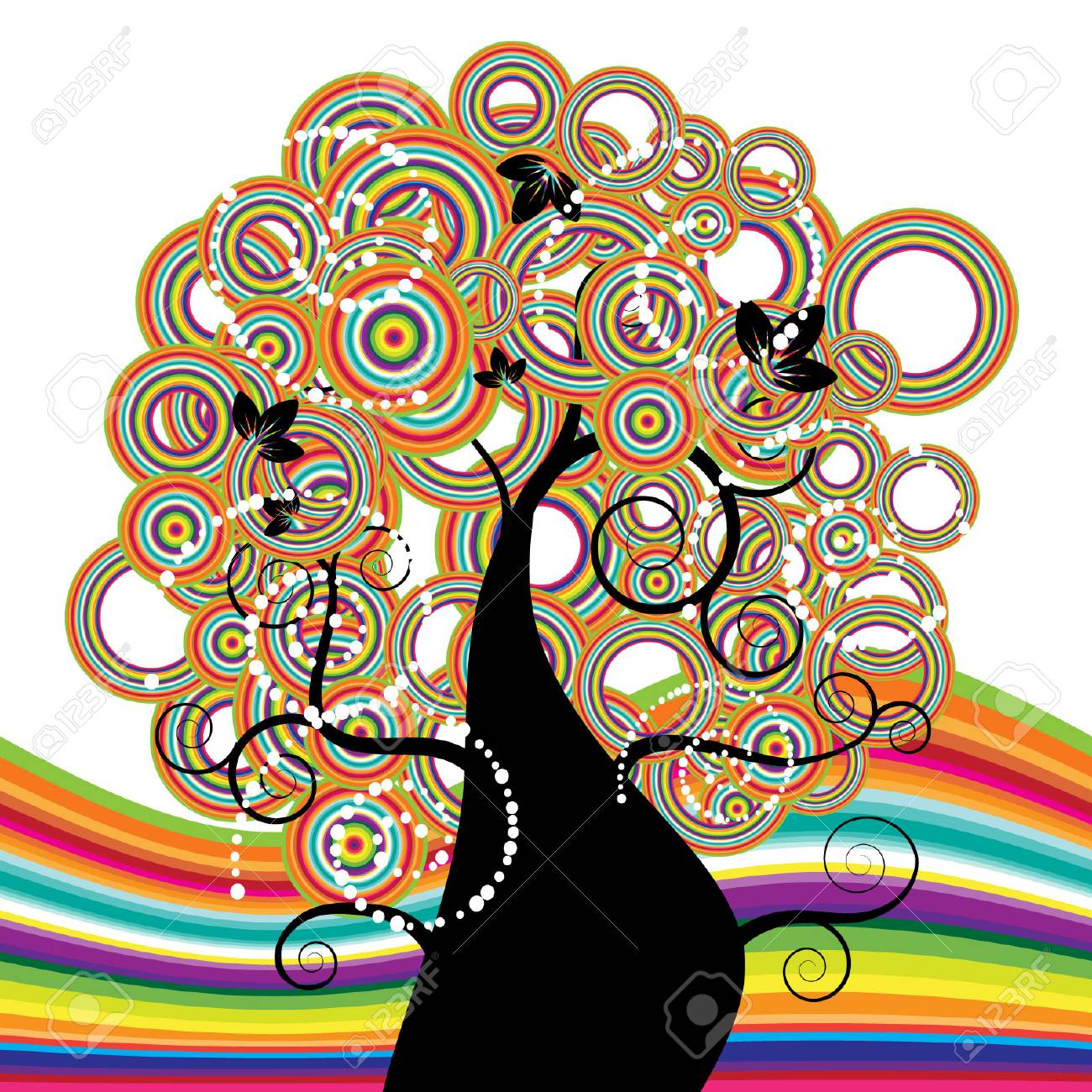 Beautiful tree, rainbow Stock Vector - 3041899