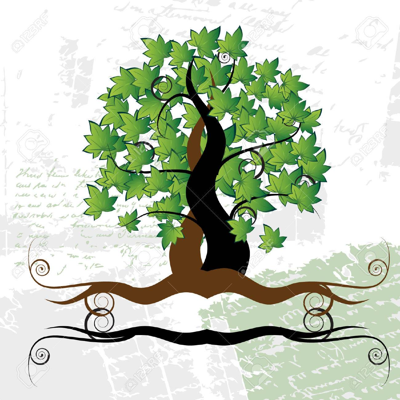 Old tree, grass, summer, grunge background Stock Vector - 3093040