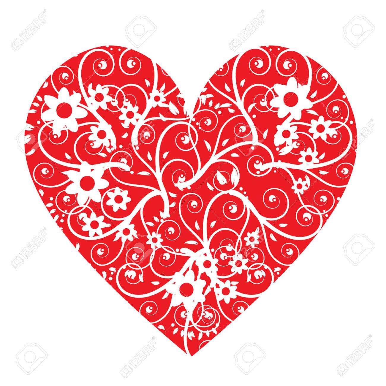 Floral Forma Corazón Ilustraciones Vectoriales Clip Art Vectorizado