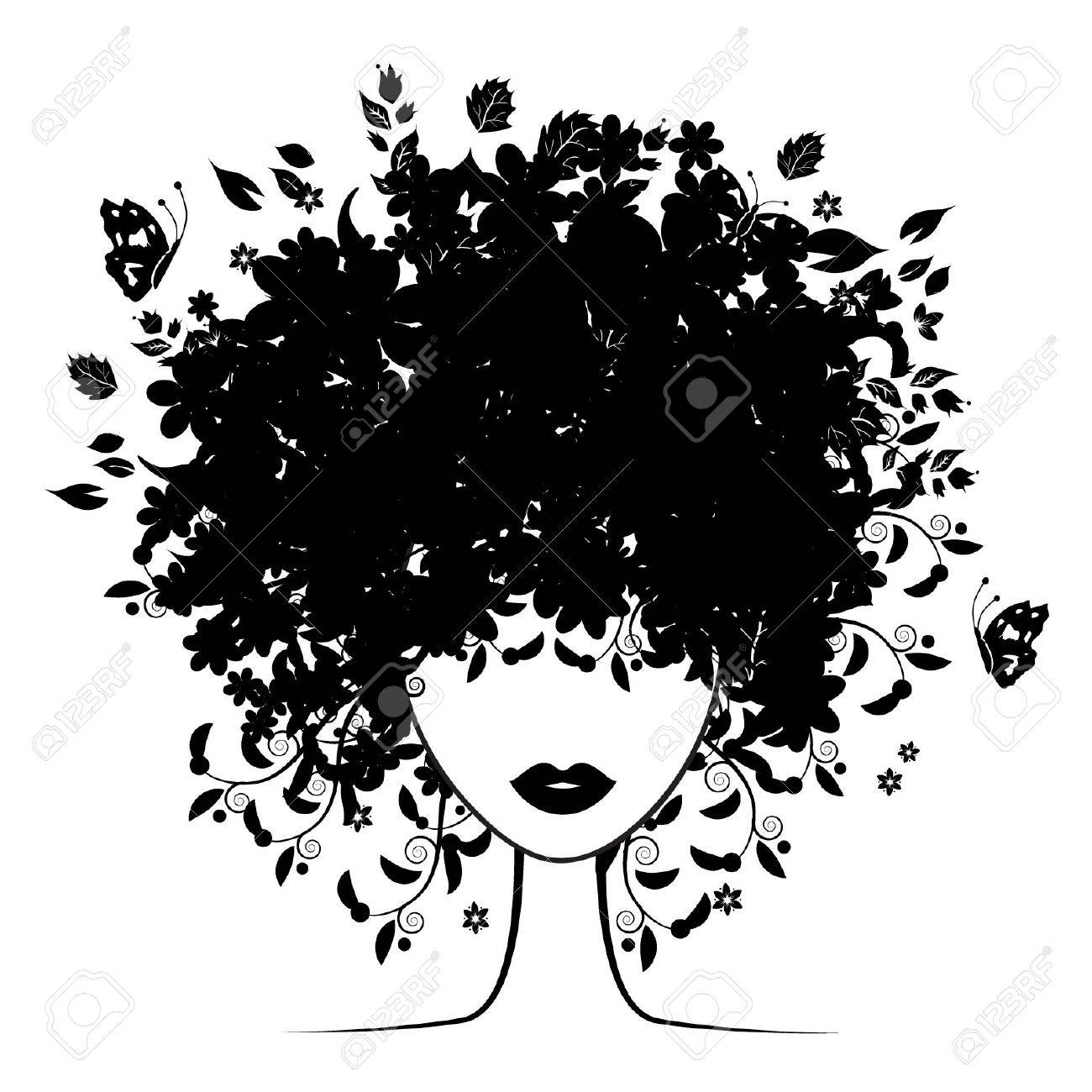 Floral hairstyle Stock Vector - 3581430