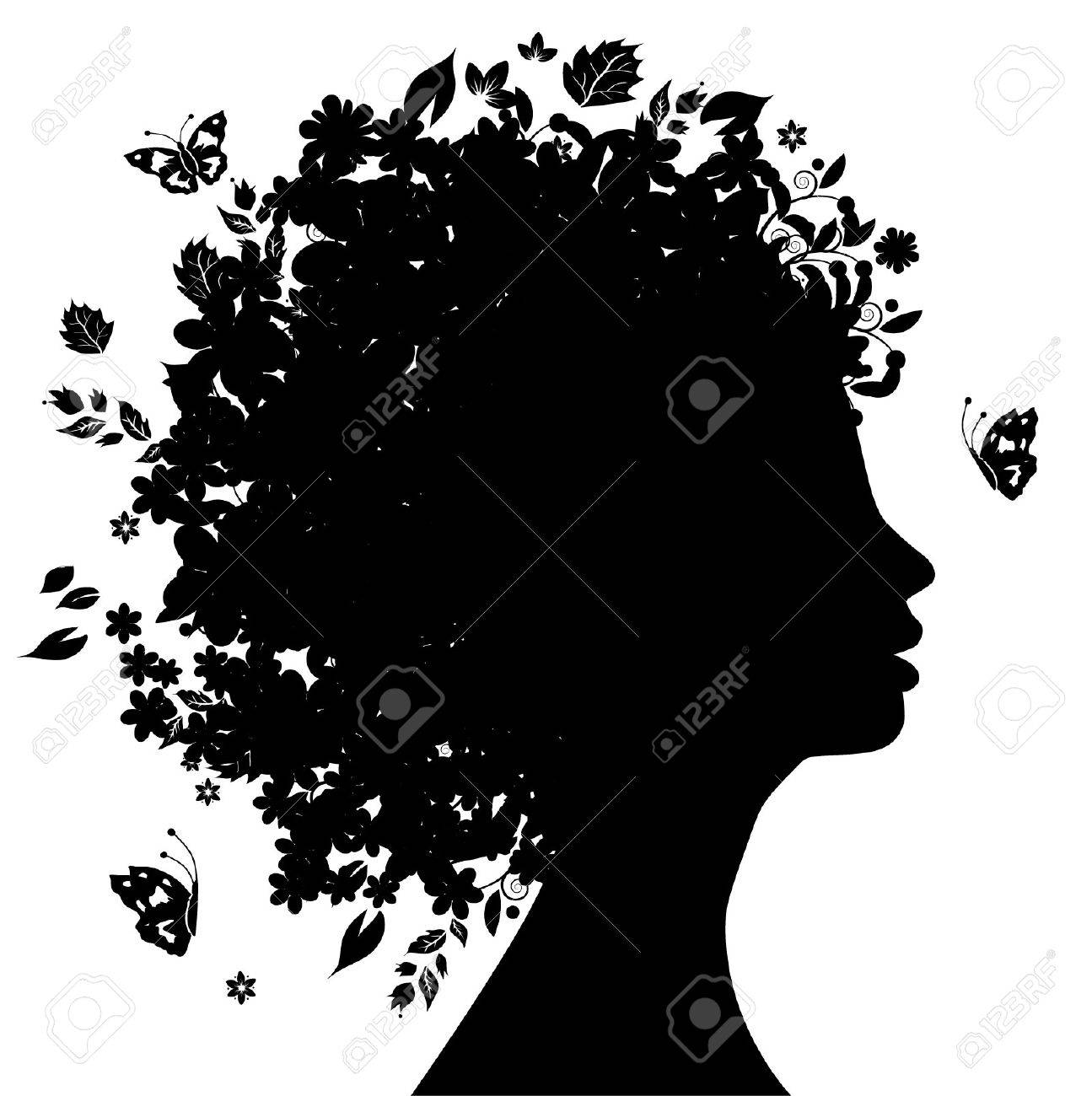 Floral hairstyle Stock Vector - 3581449