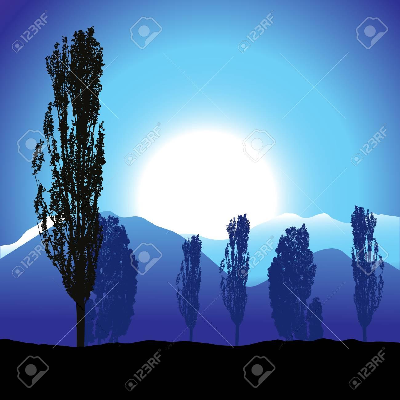 Tree silhouette, landscape Stock Vector - 3581452