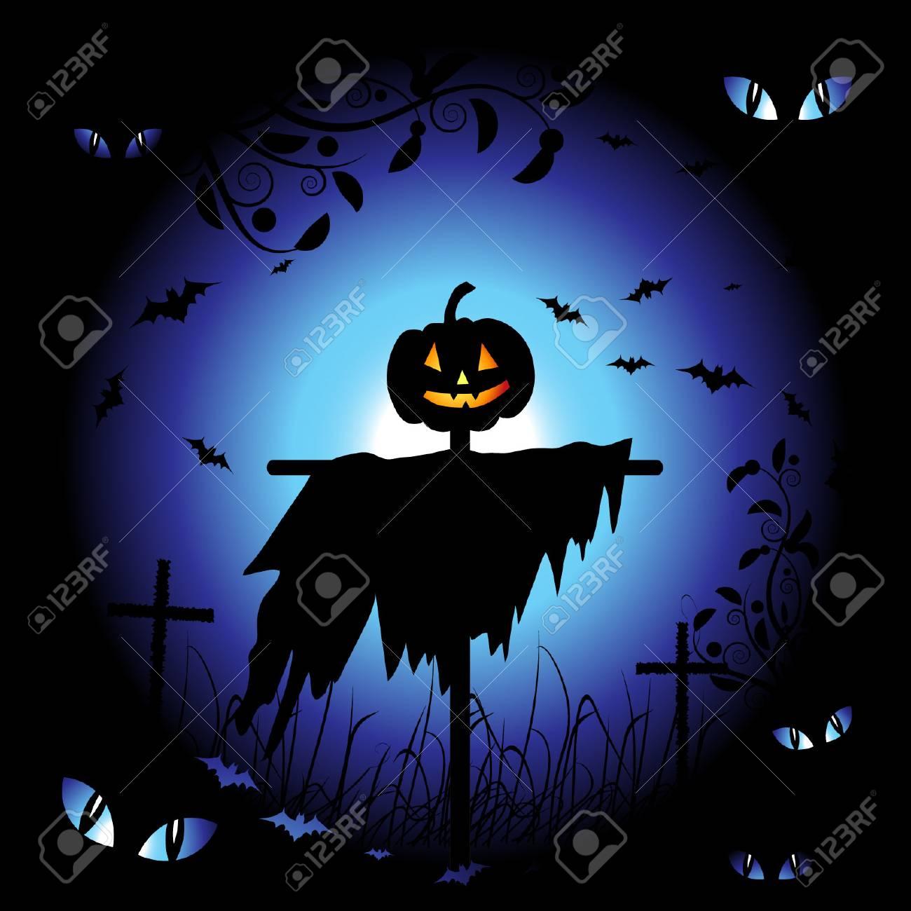 Halloween night background, vector illustration Stock Vector - 3609100