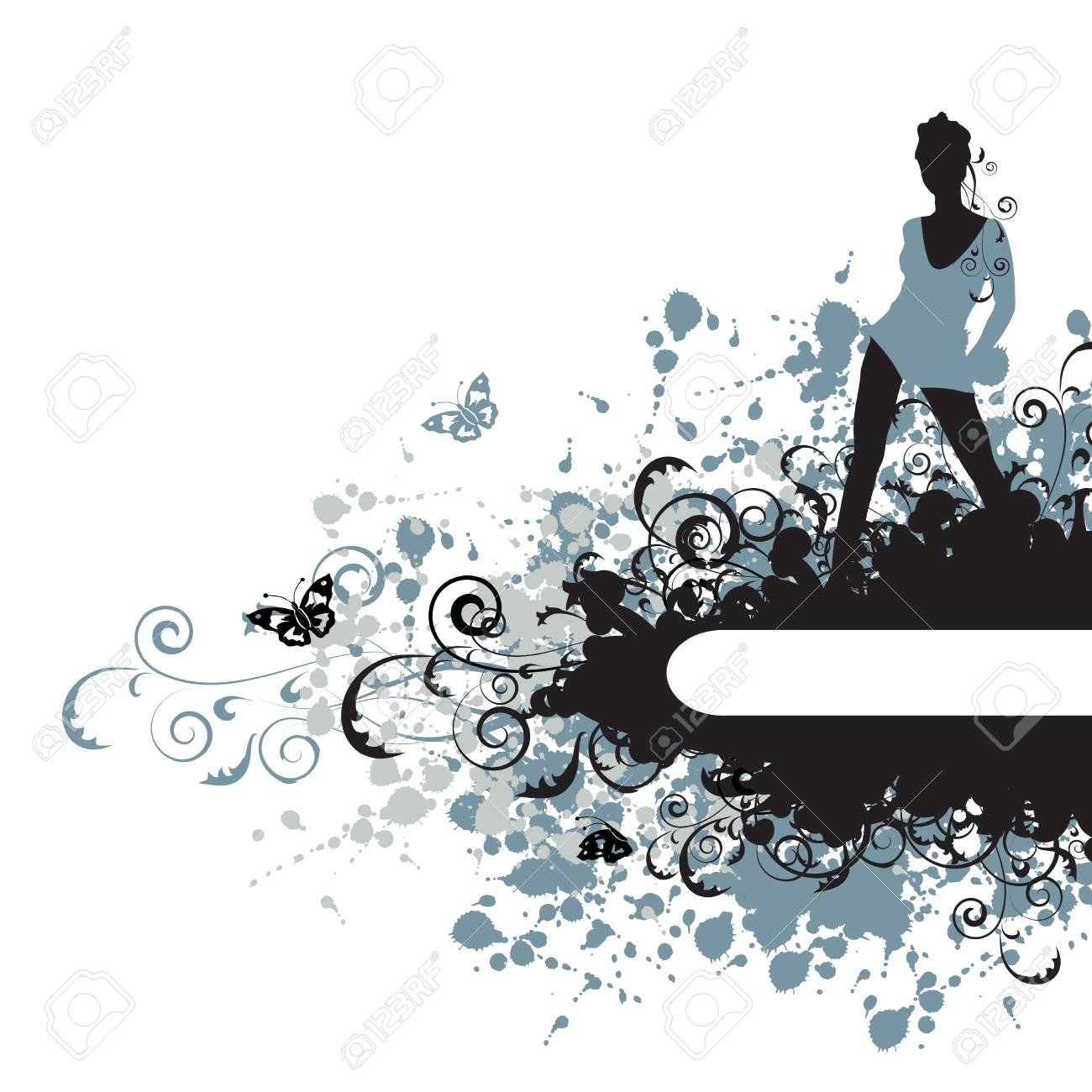 Grunge background, beautiful girl Stock Vector - 3992160
