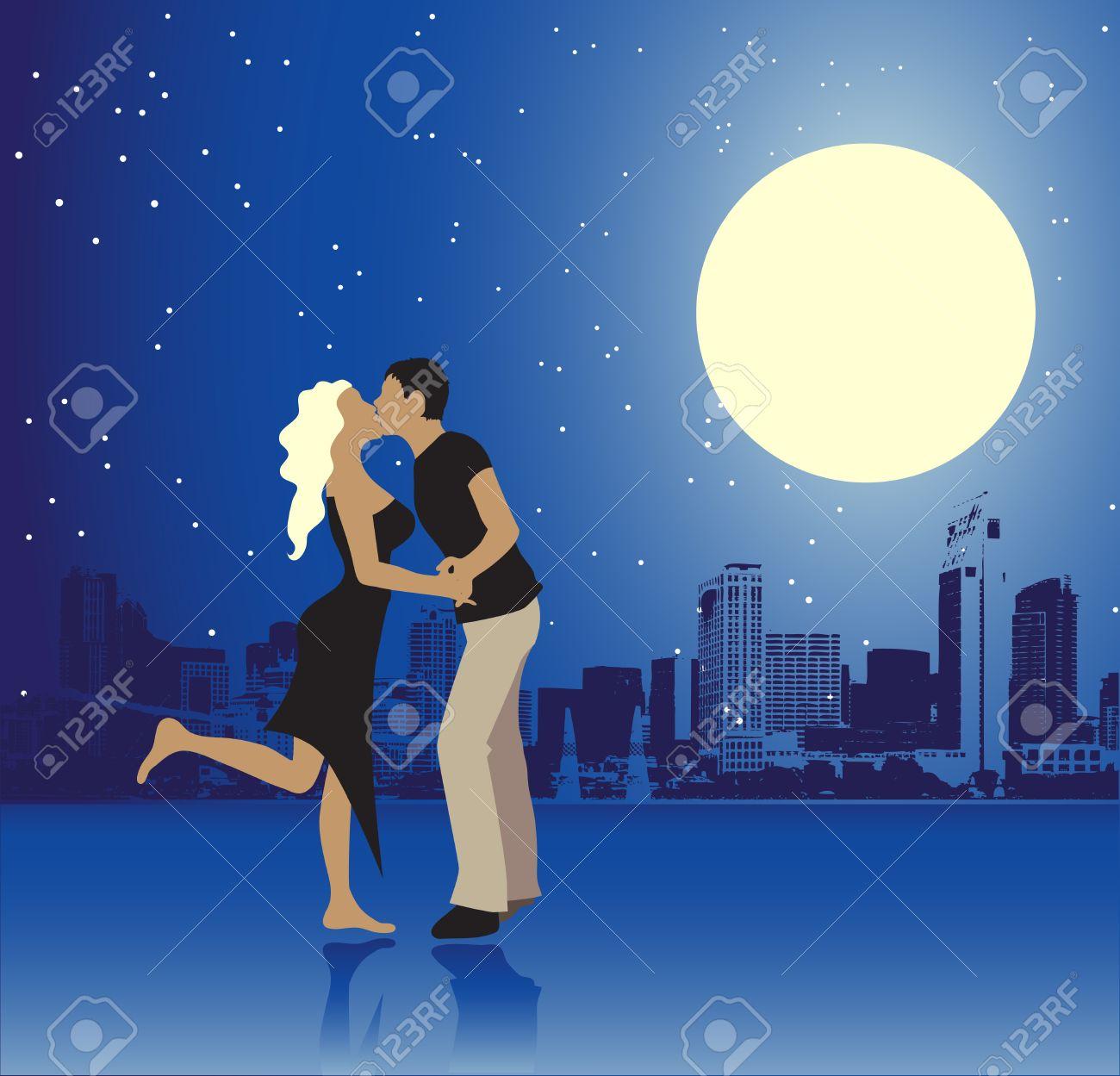 Valentine day, urban scene, couple Stock Vector - 4277570