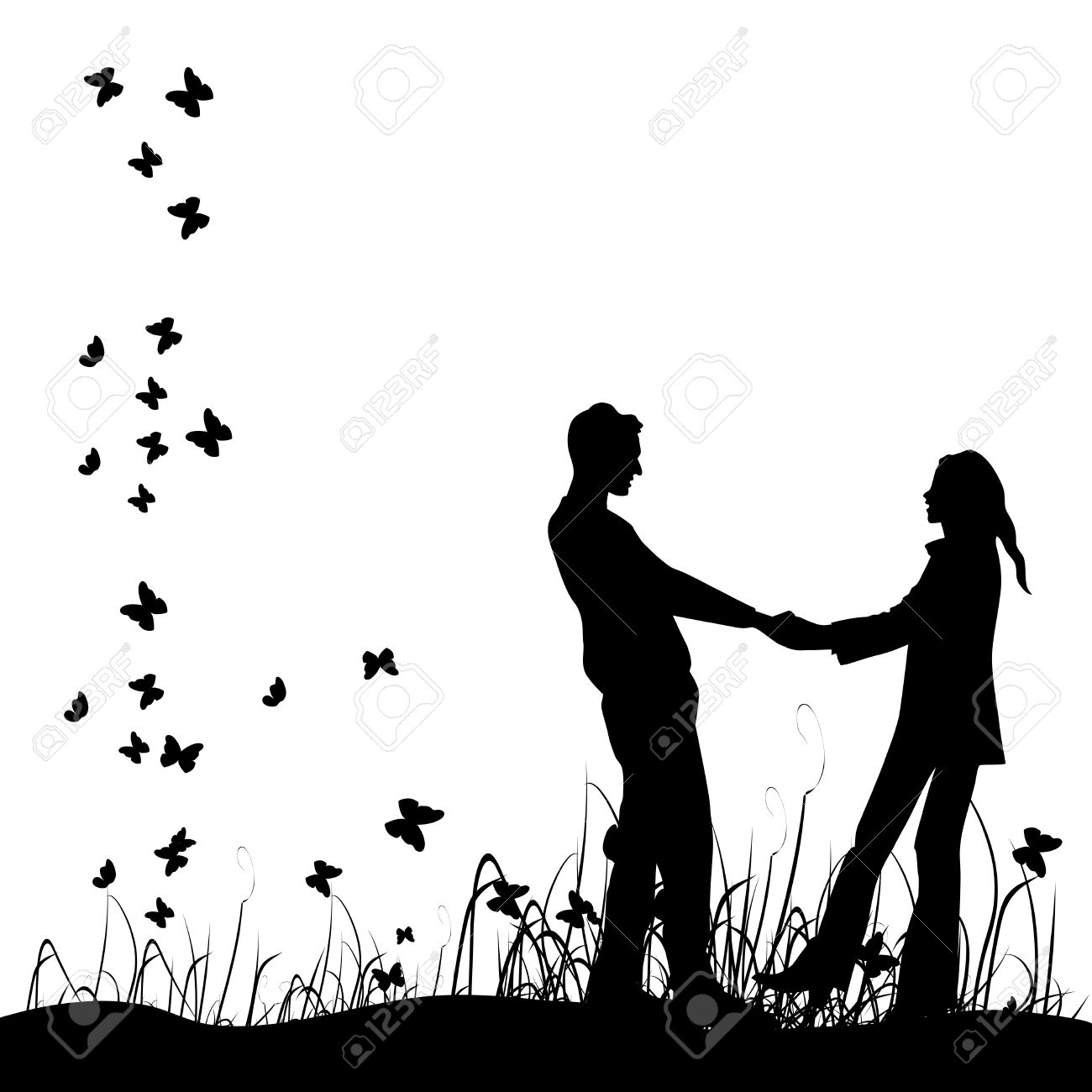 Couple on meadow, black silhouette Stock Vector - 4412542