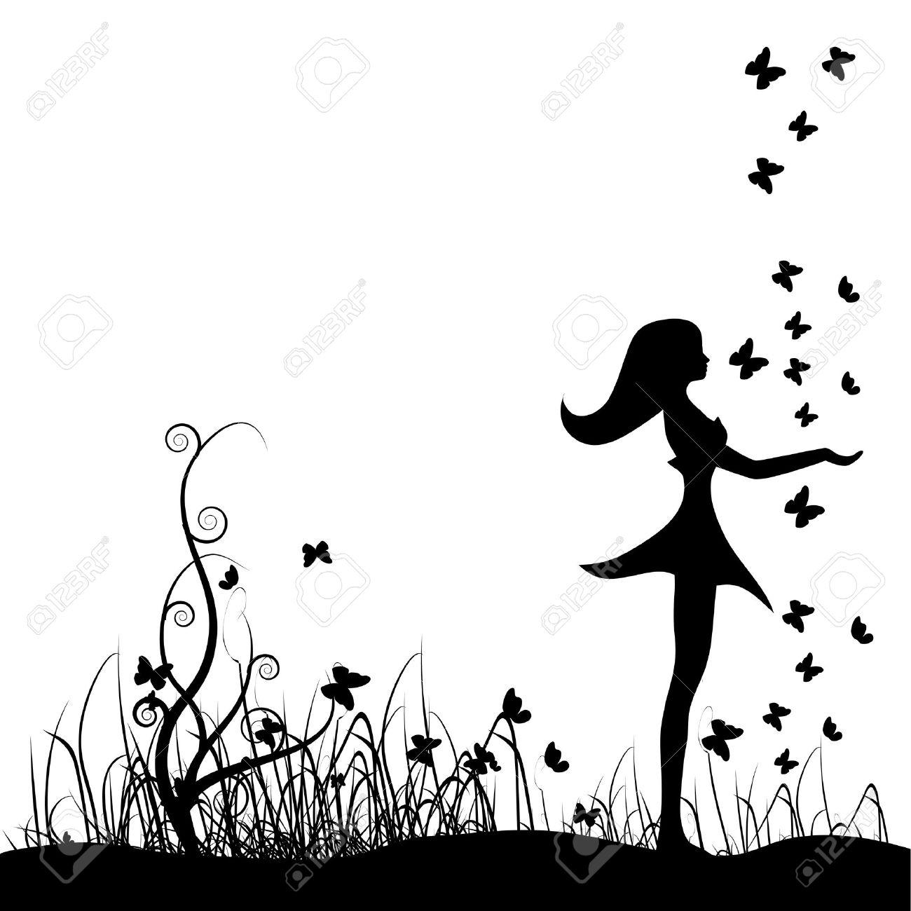 Beautiful girl on meadow, butterflies Stock Vector - 4412551