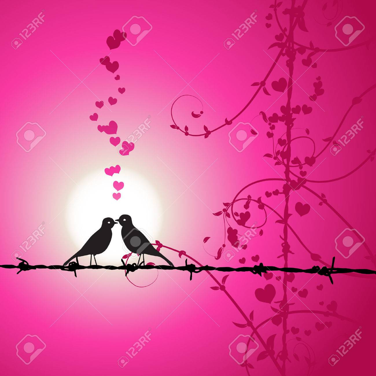 Love, birds kissing on branch Stock Vector - 4412442