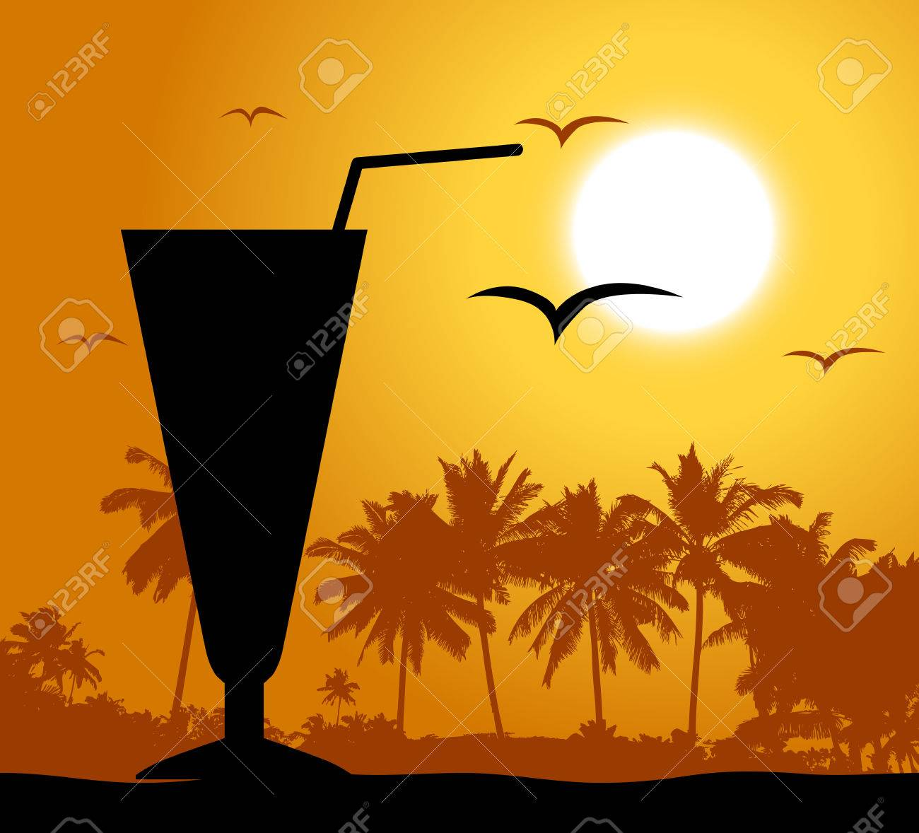 Coctail party on the beach Stock Vector - 4562323