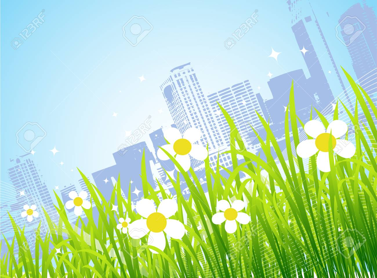 Spring in the city, flowers Stock Vector - 4562313
