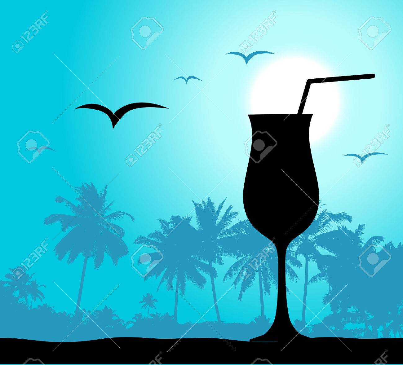 Coctail party on the beach Stock Vector - 4562326