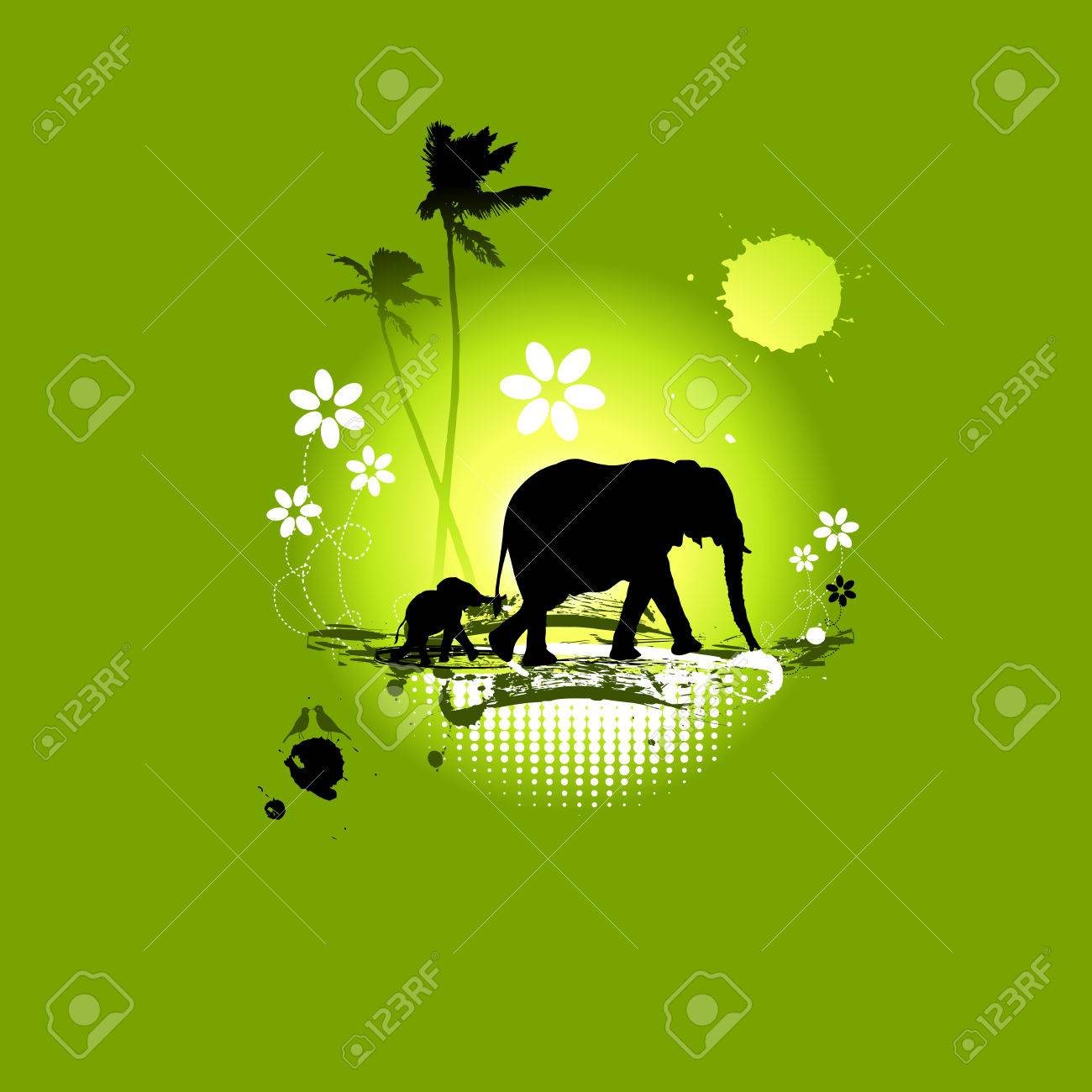 Family of elephants, summer illustration Stock Vector - 4837436