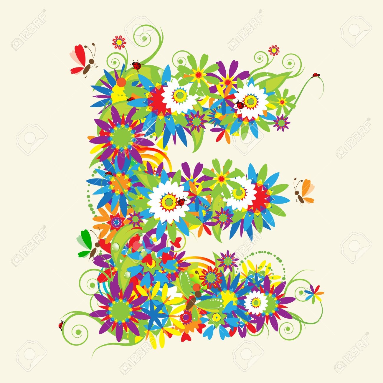 Letter E, floral design. See also letters in my gallery Stock Vector - 5268130