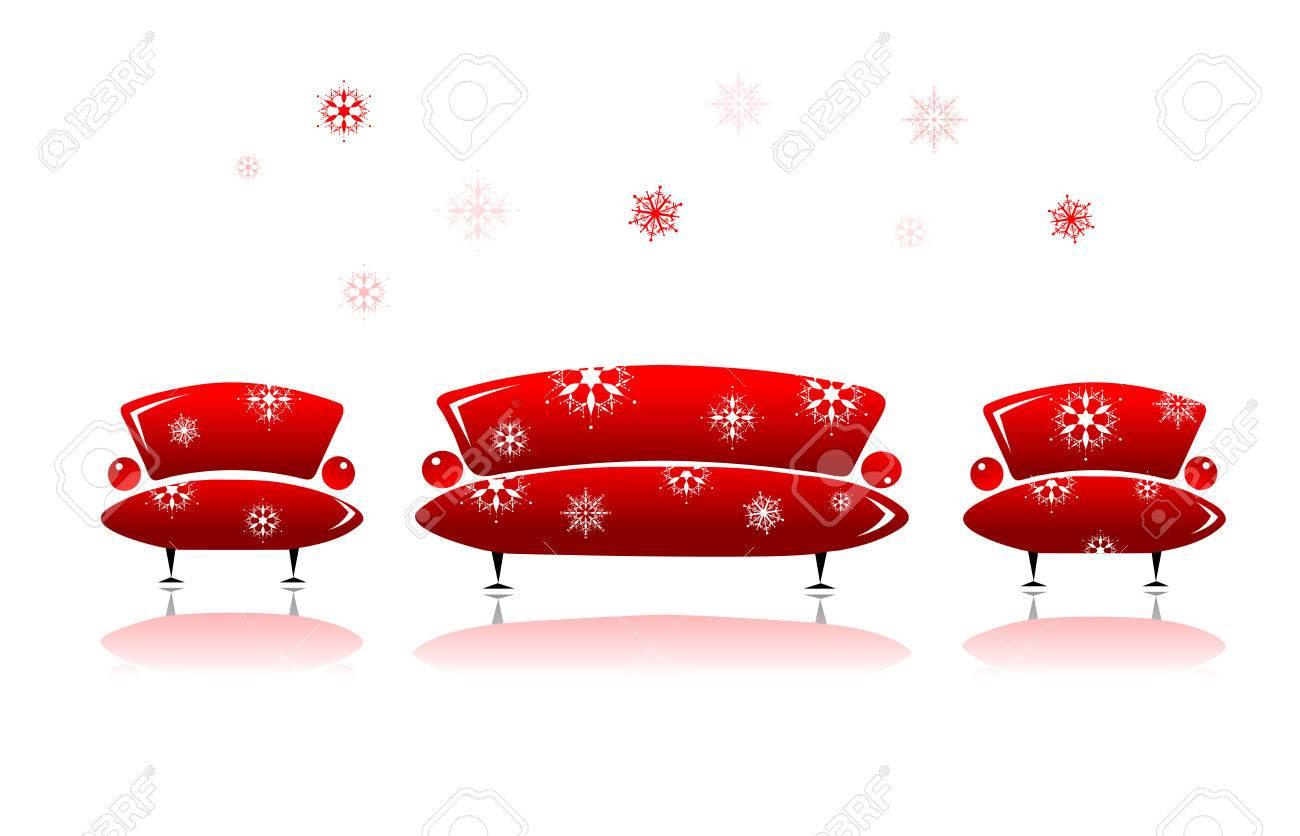 Sofa and armchair, christmas design Stock Vector - 5835856